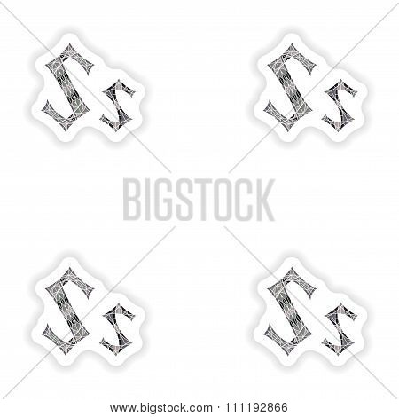 assembly stickers Low poly letter S in gray mosaic polygon