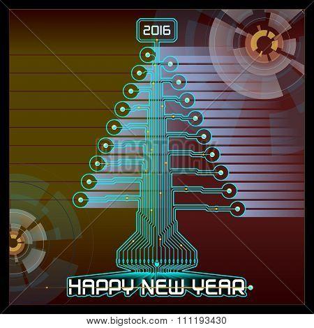 Techno Happy New Year Christmas Tree Blue