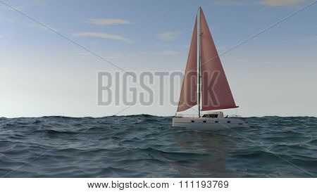 catamaran with red sales in the sea
