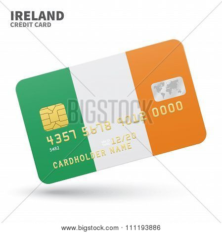 Credit card with Ireland flag background for bank, presentations and business. Isolated on white