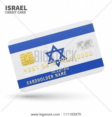 Credit card with Israel flag background for bank, presentations and business. Isolated on white