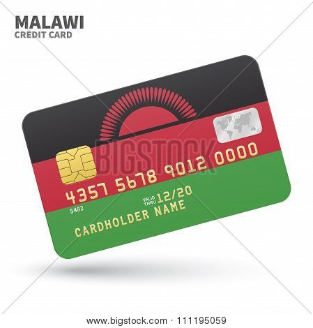 Credit card with Malawi flag background for bank, presentations and business. Isolated on white