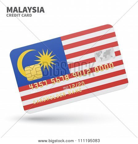 Credit card with Malaysia flag background for bank, presentations and business. Isolated on white