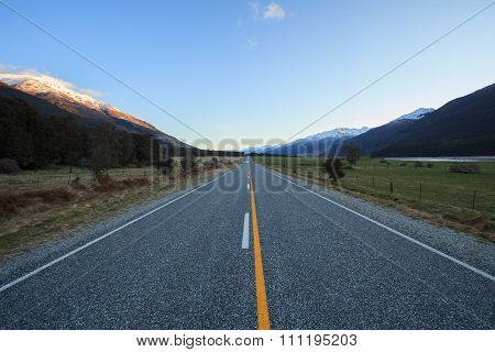 Beautiful Scenic Of Asphalt Highways Of Mount Aspiring National Park South Island New Zealand