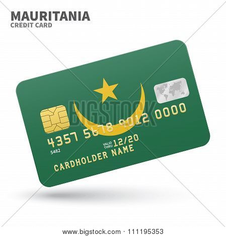 Credit card with Mauritania flag background for bank, presentations and business. Isolated on white