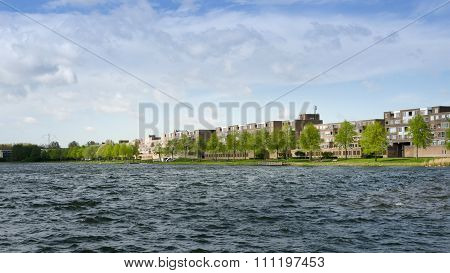 Apartment Buildings Around Weer Water In Almere Stad