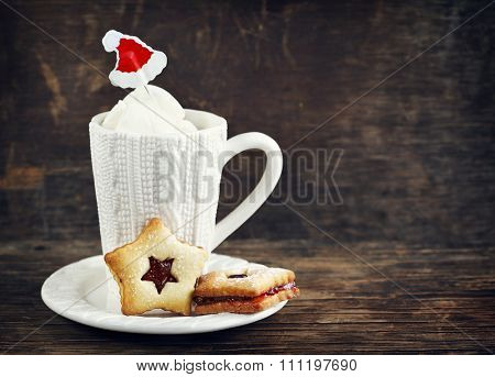 Christmas Linzer Cookies And Cup Of Hot Chocolate With Marshmallow