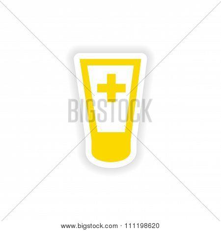 icon sticker realistic design on paper ointment