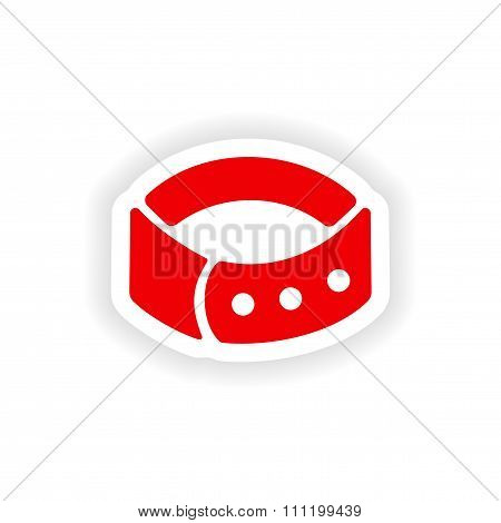 icon sticker realistic design on paper dog-collar