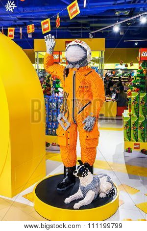 Moscow, Russia - December 11, 2015: Cosmonaut In A Space Suit Made By Lego Blocks In Central Childre