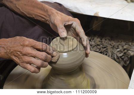 Handmade clay pottery.