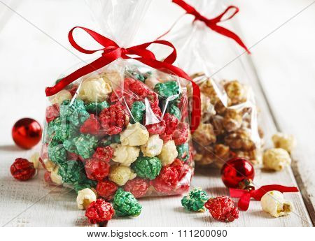 Christmas Popcorn And White Chocolate And Peppermint Popcorn