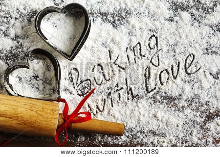Baking With Love. Flour Background.