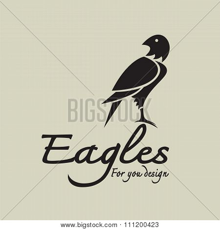 Vector Image Of An Eagle Design And Text On Gray Background, Logo, Bird