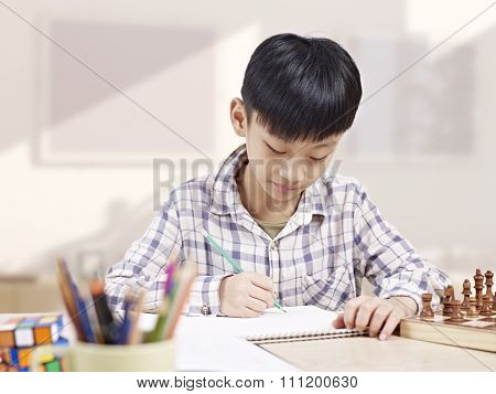 Asian Child Studying