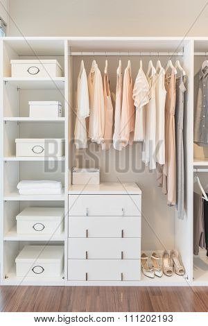 White Wardrobe On Wooden Floor With Dress