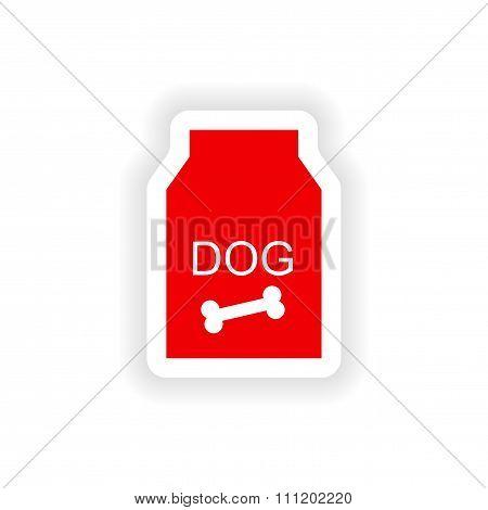 icon sticker realistic design on paper dog food