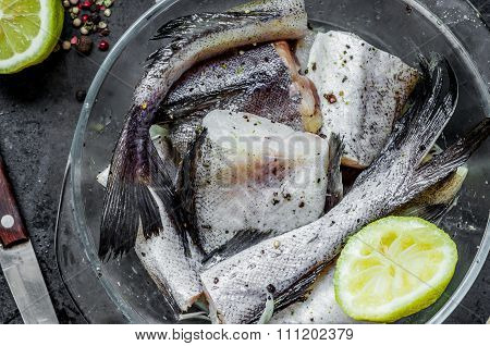 Alaska Pollock Raw Cut Into Pieces For Cooking