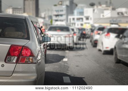 Traffic Jam With Many Cars On Express Way