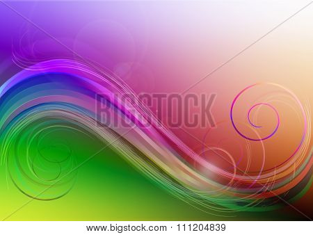 Bright background with colored waves, patches of light and curls