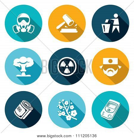 Nuclear Power in Japan Icons Set. Vector Illustration.