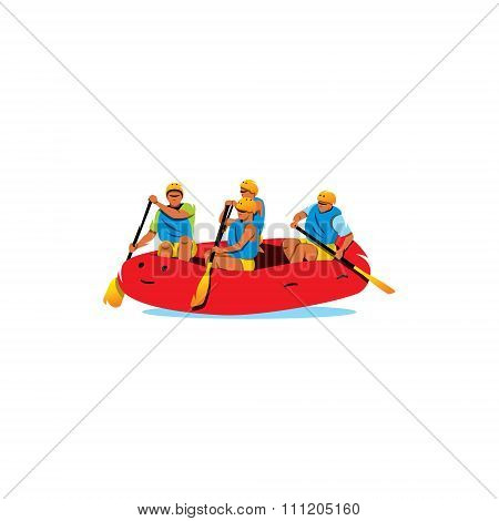 Rafting. Vector Illustration.