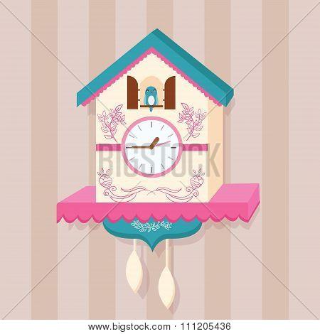 cuckoo clock bird vector on wall flat cute