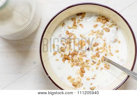 Muesli With Yoghurt View From Above