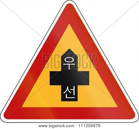 Korea Traffic Safety Sign - Attention - Priority Road. The Script Means Priority