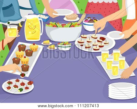 Illustration of a Family Gathering Together for an Outdoor Meal