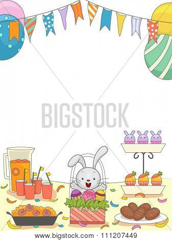 Easter Party Illustration of a Table Filled with Food