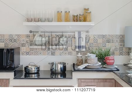 Kitchen Counter With Utensil Prepared For Cooking