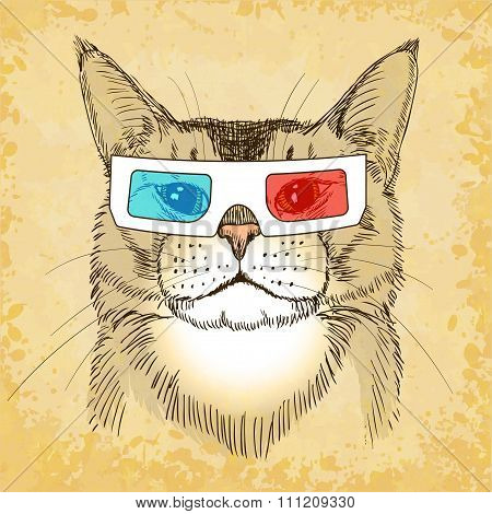 Hand Drawn Cat With 3D Glasses. Vector Illustration, Eps10.