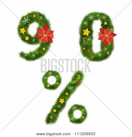 Christmas Numerals, Vector Illustration, Eps10