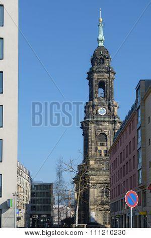 View Of Pfarrgasse Street Towards Kreuzkirche In Dresden, Saxony, Germany.