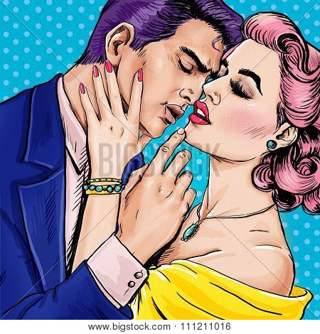 Love couple.Pop Art Couple.Pop Art love. Valentines day postcard. Hollywood movie scene.