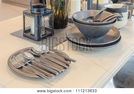 Table Set On Wooden Dining Table In Dinning Room
