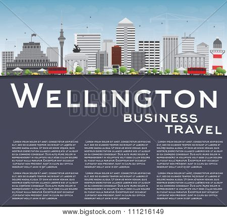 Wellington skyline with grey buildings, blue sky and copy space. Vector illustration. Business travel and tourism concept with place for text. Image for presentation, banner, placard and web site.