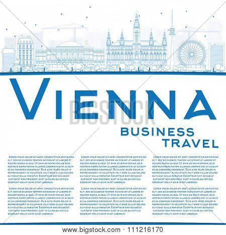 Outline Vienna Skyline with Blue Buildings Copy Space. Vector Illustration. Business Travel and Tourism Concept with Historic Buildings. Image for Presentation, Banner, Placard and Web Site.