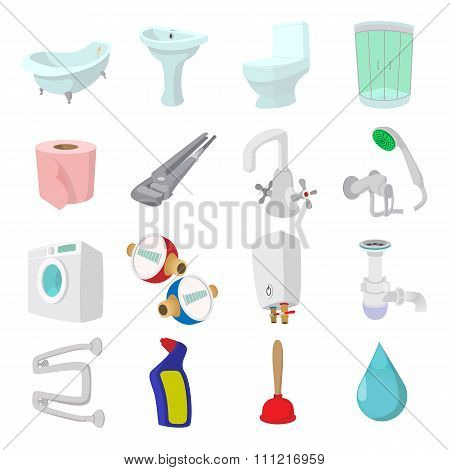 Sanitary engineering cartoon icons
