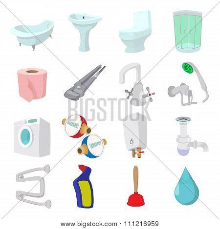 Sanitary engineering cartoon icons