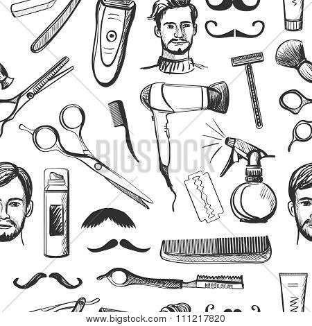 Hand drawn retro barbershop seamless pattern