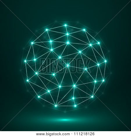 Abstract Polygonal Sphere, Network Connections. Futuristic Technology Style