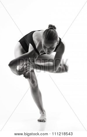 Modern Ballet Dancer Posing On White Background