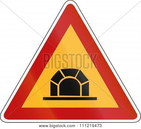 Slovenian Road Warning Sign - Tunnel Ahead