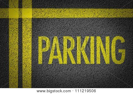 Parking written on the road