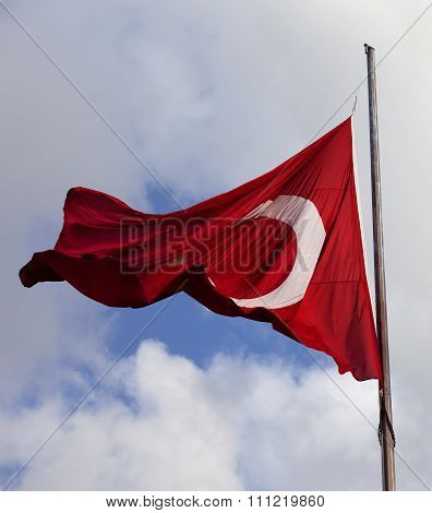 Turkish Flag At Windy Day
