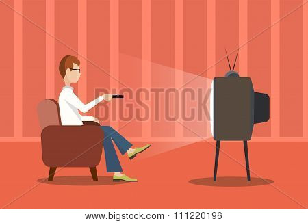 Person Near The Tv Screen A Vector Illustration