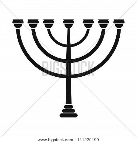 Gold hanukkah menorah simple icon