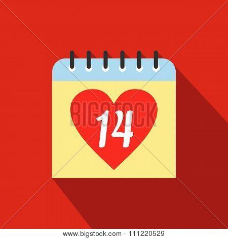 14 February calendar flat icon